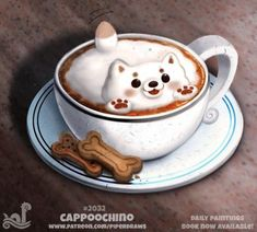 Daily Paint 2032# Cappoochino by Cryptid-Creations
