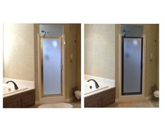 Before and After of spray-painting shower door surround.  25 bucks and two days was much cheaper than a new door to match the bronze fixtures. (used Carbon Mist RustOleum prime+paint)  Exciting!!!