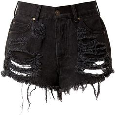 Black High Waisted Denim Shorts - Destroyed (€41) ❤ liked on Polyvore featuring shorts, bottoms, pants, short, high waisted ripped shorts, high-waisted jean shorts, high-waisted denim shorts, high waisted shorts and high rise denim shorts