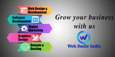 Design Development, Software Development, Web Design, Graphic Design, Domain Hosting, Growing Your Business, Digital Marketing, India, Smile