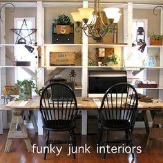 My funky pallet ladder sawhorse blogging desk! (whew)