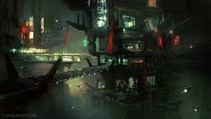 Sci Fi City - CGMA by M0nkeyBread.deviantart.com on @deviantART Brady- I like these type of digital paintings.