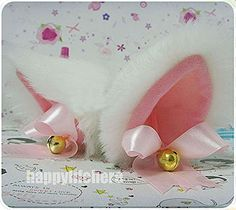 Hot Sweet Lovely Anime Lolita Cosplay Fancy Neko Cat Ears Hair Clip White with Bell >>> Click affiliate link Amazon.com on image for more details.