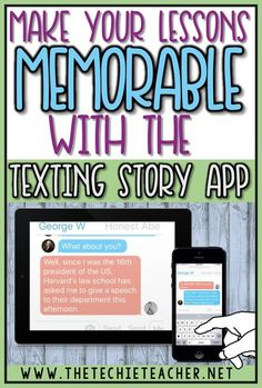 Make Your Lessons Memorable with the Texting Story App Make your lessons memorable with the free ipad app, Texting Story. This digital tool is a great way to get your students thinking, creating and writing while using technology in the classroom. Teaching Technology, Technology Tools, Technology Integration, Educational Technology, Technology Lessons, Instructional Technology, Instructional Strategies, Digital Technology, Futuristic Technology