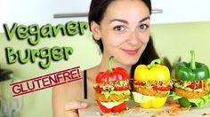 Vegane Burger selber machen | glutenfrei & ölfrei | mit Süßkartoffeln un... Stuffed Peppers, Vegetables, Food, Vegan Burgers, Stuffed Pepper, Glutenfree, Sweet Potato Recipes, Essen, Vegetable Recipes