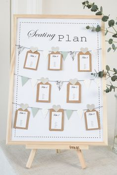 DIY seating plan for weddings and summer parties. An easy way to organize your party