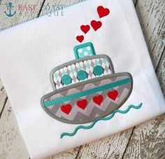 Love Boat Applique - 3 Sizes! | Boats | Machine Embroidery Designs | SWAKembroidery.com East Coast Applique