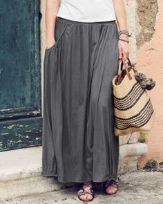 Favorite Maxi Knit Skirt- Garnet Hill. This is not your typical jersey maxi skirt. The pockets, seaming, and hem make it special. WWW.LEILAMACKSTYLE.COM