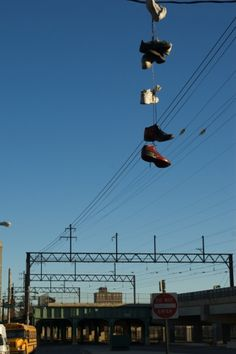 A Philly tradition (hanging shoes on wires) hmmmmm