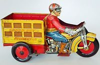 """40'S MARX SPEED BOY DELIVERY TIN LITHO WIND UP MOTOR-TRI-CYCLE  9 3/4"""" NO RESRVE"""
