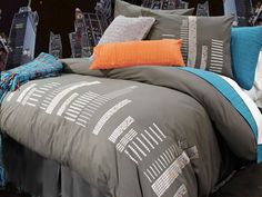 Cityscapes Duvet cover by Alamode. My son likes the neutral background and I like that it has pops of blue and orange to accent. He thinks the cityscape looks like an equalizer/sound mixer - perfect for my musician/songwriter! Toile Bedding, Bedding Sets, Comforter Cover, Duvet Covers, Decoration, Luxury Bedding, Simple, Comforters, Bedroom Decor