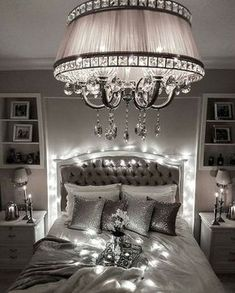 Bedroom lighting can range from basic to bold, and dimmed to dramatic. No matter what, lighting is a key player in your bedroom design. Bedroom lighting inspiration for your sleeping accommodation. Look at our best bedroom interior ideas. Romantic Bedroom Lighting, Bedroom Decor Lights, Glam Bedroom, Chandelier Bedroom, Home Bedroom, Bedroom Furniture, Bedroom Ideas, Master Bedroom, Girls Bedroom