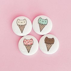 Ice Cream Cats  1 Buttons by thepinksamurai on Etsy (Accessories, Patches & Pins, Pins & Pinback Buttons, button, accessories, pinback button, pin, badge, austincraftriot, kawaii, cute, junk food, food, funny, ice cream, cat)