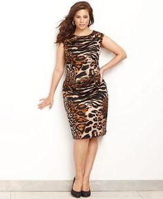 INC International Concepts Plus Size Dress, Sleeveless Animal-Print Sheath - Plus Size Dresses - Plus Sizes - Macy's