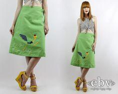 Vintage 70s Green ROADRUNNER High Waisted Wrap Skirt S M L High Waist Skirt Summer Skirt High Waisted Skirt Roadrunner Skirt  Knee Skirt