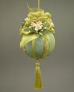 """Avon Lady"" by Towers and Turrets - Large Moss Green Moire Faille Fabric Ball Christmas Ornament with Parchment Roses - Handmade by Towers and Turrets, http://www.amazon.com/dp/B009N60PU2/ref=cm_sw_r_pi_dp_jAlDqb0HAM155"
