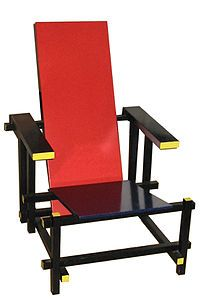 """Red and Blue Chair designed by Gerrit Rietveld in 1917. De Stijl, Dutch for """"The Style"""", also called neoplasticism, is a Dutch artistic movement which founded in 1917 in Amsterdam.  The De Stijl simplified visual compositions to vertical and horizontal, using only black, white and primary colours. This design of the chair has exactly style with De Stijl which only used red, blue and black.  Also simplify is a characteristic of De Stijl that shows on this design."""