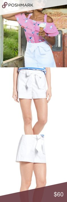 """Draper James White Sadie Cotton Shorts with Bow Draper James Sadie cotton shorts with bow on front. No flaws as tag attached.  Waist side to side 16.5"""" Inseam 3"""" Outseam 15"""" Rise 12.5""""  