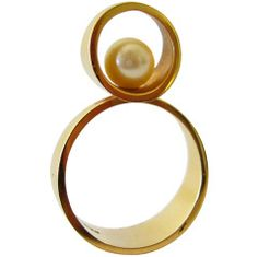 1960s Just Andersen Pearl Gold Ring