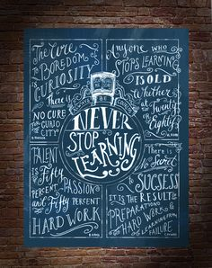 Never Stop Learning typography poster