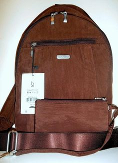 NEW Baggallini Glide Sling Backpack Bag Mocha Brown Washable Nylon &Wristlet NWT #Baggallini #BackpackStyle