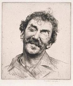 Etching of James McNeill Whistler by Mortimer Menpes (1860-1938)