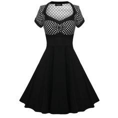 ACEVOG Women 1950s Vintage Style Dots Short Sleeve Swing Party Midi Dress