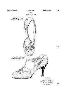 1934 DESIGN FOR A SHOE  CHARLES MILLER