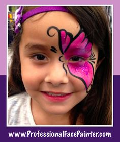 A fast way to complete a bunch of faces but still have an awesome face painted butterfly.  A half face design.   Face painting in Rancho Santa Margarita, Orange County CA.