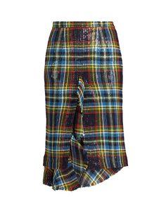Marco De Vincenzo Ruffled tartan skirt