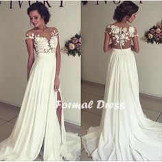 Elegant white  prom dress,A-line chiffon lace long prom gown,evening dress,formal dresses
