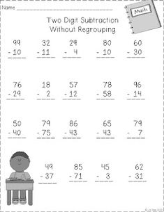 Two Digit Subtraction w/o regrouping 2nd Grade Classroom, Math Classroom, Kindergarten Math, Maths, Math Subtraction, Addition And Subtraction, Teaching First Grade, Student Teaching, School Lessons