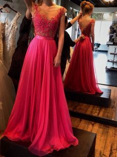 Princess Prom Dress, Evening Dress Scoop Appliques Chiffon V-back, Floor-Length Prom Dresses, Sexy Prom Dresses, A-Line Prom Dresses, Charming Backless Evening Dresses
