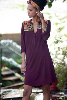Tribal Tunic Dress, Dress With sleeves Belt, Embroidered Woman Dress, Purple embroidery dress, kaftan inspired Lycra Boho Caftan dress
