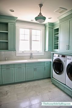 A small laundry room can be a challenge to keep laundry room cabinets functional, yet since this laundry room organization space is constantly in use, we have some inspiring design laundry room ideas. Laundry Room Cabinets, Laundry Room Organization, Laundry Room Design, Laundry Rooms, Mud Rooms, Laundry Area, Diy Cabinets, Teal Cabinets, Organizing
