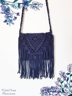 MACRAME BAG, crochet purse, navy dark blue jean, more COLOURS,fringes/Handbag/boho bohemian hippie chic/perfect gift for women mother's day - Original handbag woven by my hands with natural and ecological cotton cord. It is a unique and exc - Hippie Chic, Hippie Bohemian, Boho Chic, Bohemian Style, Bag Crochet, Crochet Purses, Crochet Fringe, Marine Jeans, Cotton Cord
