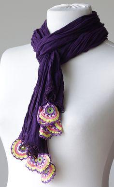 Purple Women Cotton Scarf, Long Scarf with Turkish Crochet oya, Crochet Motifs, Crochet Shawl, Knit Crochet, Crochet Patterns, Crochet Capas, Scarf Hat, Cotton Scarf, Love Crochet, Long Scarf