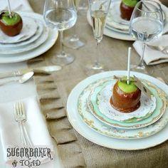 Carmel Apple place cards #mismatchedchina #wedding Photo by sugarbakerandtoad