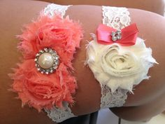 Coral & Ivory Wedding Garter Set