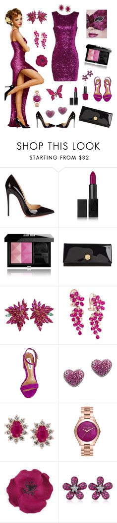 """Sequin Sparkle ✨🌺✨"" by melissa-kyhlenso ❤ liked on Polyvore featuring Christian Louboutin, NARS Cosmetics, Masquerade, Givenchy, Jimmy Choo, Joana Salazar, Effy Jewelry, Steve Madden, Plukka and Michael Kors"
