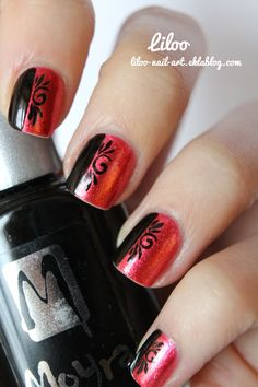 Pinned by www.SimpleNailArtTips.com INTERMEDIATE NAIL ART DESIGN IDEAS - Liloo | Blog de Nail art, Black on red