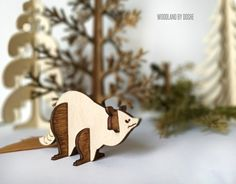 Charming 3D laser cut Racoon / Woodland animals / Racoon figurine / Racoon art / Forest animals / Laser cut animals / Pretend play / Racoon by DosheEcoDecorCharms on Etsy