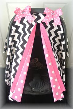 carseat canopy car seat cover black hot pink by JaydenandOlivia, $35.99