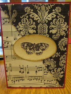 For the music lover: nice idea for a journal or notebook for someone who writes... to put ideas down?? Homemade Greeting Cards, Homemade Cards, Greeting Cards Handmade, Scrapbooking, Scrapbook Cards, Butterfly Cards, Butterfly Music, Your Cards, Diy Cards