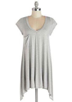 A Crush on Casual Tunic in Grey - Grey, Solid, Casual, Short Sleeves, Better, Variation, Grey, Short Sleeve, Jersey, Knit, Long, Handkerchief, Pockets, V Neck, Best Seller, Spring, Summer, Good, Top Rated, 4th of July Sale