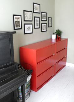 Upcycled lateral file cabinets can be repainted and used in many ways as in this photo.