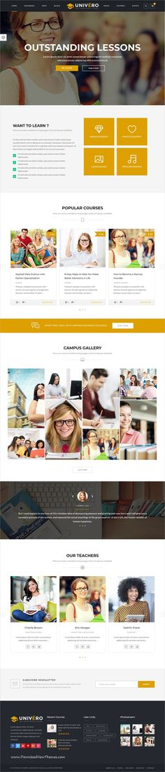 Univero is clean and modern design 10in1 responsive WordPress #template for #university, college, #school, LMS and online courses education #website to live preview & download click on Visit