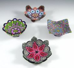 Vessels and bowls made from polymer clay can slices.  This blog has lots of beautiful caning ideas!