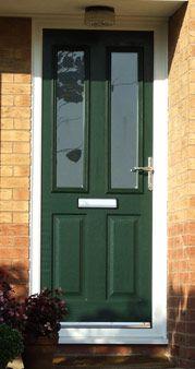 Dark Green Composite Door Hampton, Middlesex  Dark green for front door with top half glazed somehow.