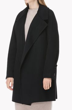 Wool cashmere sleeves button coat